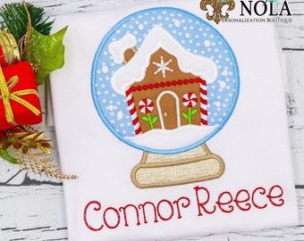 Gingerbread House Snow Globe Applique, Winter Applique, Christmas Applique, Christmas Outfit, Xmas