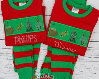 Polar Express Vintage Sketch with Patch Applique Red & Green Christmas Pajamas, Polar Express Pajamas, XMAS Pajamas, Christmas Applique