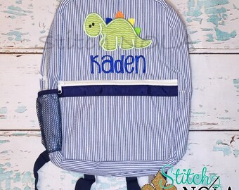 Seersucker Backpack with Baby Dinosaur, Seersucker Diaper Bag, Seersucker School Bag, Seersucker Bag, Diaper Bag, School Bag, Book Bag, Back