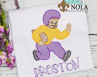 Football Player Shirt, Purple and Gold Football Player Shirt, Football Sketch Shirt
