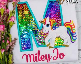 Flip Sequin Alpha Unicorn Applique, Rainbow and Silver Flip Sequins, Rainbow Unicorn Applique, Sequined Alpha Applique