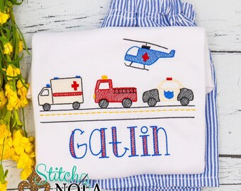 Emergency Transportation Personalized Shirt and Shorts Set, Ambulance, Fire Truck, Police Car and Rescue Helicopter Shirt