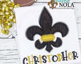 Personalized Fleur de lis Shirt, Personalized Football Shirt, Black and Gold Football Shirt