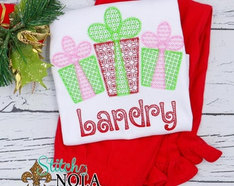 Vintage Christmas Presents Motif Top And Bottom Set, Christmas Present Trio, Sketch Christmas Presents, Holiday Embroidered Outfit