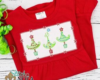 Smock Inspired Whimsical Christmas Tree Sketch, Christmas Tree Embroidery , XMAS Tree Embroidery