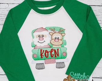 Sketch Truck With Santa And Reindeer, Christmas Embroidered Shirt, Santa Claus And Reindeer, Holiday Shirt