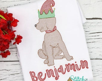 Christmas Elf Dog, Christmas Dog with Elf Hat, Christmas Dog Sketch Embroidery, Vintage Christmas Dog