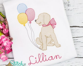 Birthday Pup Sketch Embroidery, Puppy with Balloons, Lab with Balloons
