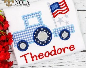 Patriotic Tractor Applique, American Flag, Patriotic  Applique, Red White and Blue Applique, America Applique, Memorial Day, Fourth of July