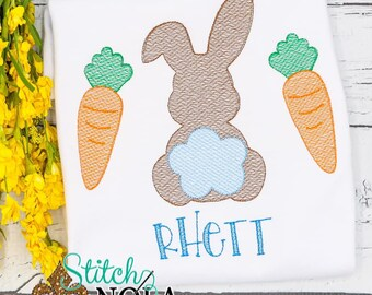 Bunny And Carrots Easter Sketch Embroidery, Spring Embroidery, Easter Shirt, Spring Shirt, Boy Easter Shirt