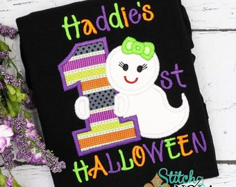 Baby's First Halloween Applique, Ghost 1st Halloween Applique, Ghost Applique, 1st Halloween Applique