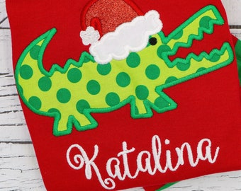 Santa Gator Applique, Alligator with Santa Hat, Alligator Applique, Gator Applique, Santa, Christmas Applique, Christmas Shirt, XMAS Pics