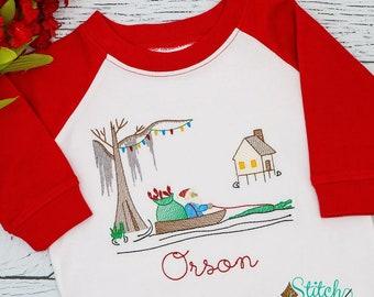 Louisiana Cajun Christmas Swamp Sketch Embroidery, Cajun Christmas Vintage Embroidery, Christmas Gator, Christmas Santa, Raglan