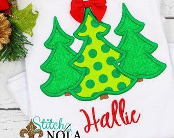 Christmas Tree Applique, Christmas Tree Trio Applique, Christmas With Bow, Personalized Christmas Shirt, Holiday Shirt, Xmas