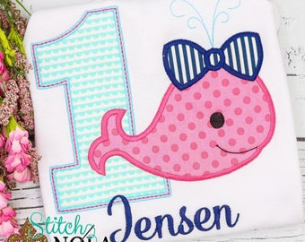 Whale Birthday Shirt, Girls Birthday Outfit, Number Applique Shirt