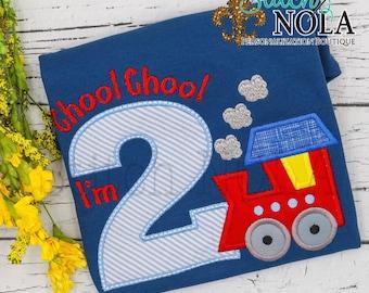 Train Birthday Shirt, Choo Choo I'm 2 Train Applique, Train Birthday, Train Applique