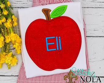 Apple Applique Shorts Set,  Apple Applique, Apple Outfit, Back to School Outfit