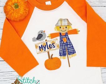 Scarecrow Appliqué Shirt, Fall Festival Shirt, Boys Scarecrow Tee