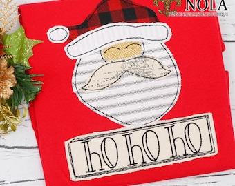 Santa Applique. Santa with Name Patch, Christmas Applique, Christmas Shirt, XMAS Pics