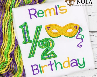 Mardi Gras Half Birthday Applique, Mardi Gras Mask Applique, Purple Green And Gold, Mardi Gras Applique, Mardi Gras Birthday Outfit