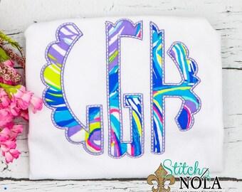 Circle Monogram Applique, Scallop Monogram Applique, Lilly Pulitzer Fabric Monogram, Lilly Pulitzer Fabric Applique
