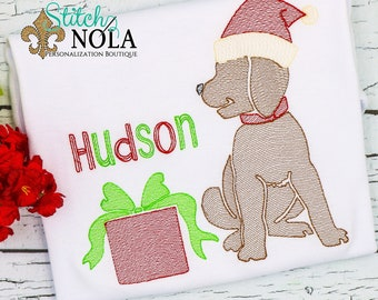 Christmas Dog Sketch Embroidery, Dog with Christmas Present, Lab with Christmas Present, Christmas Pup, Santa Puppy