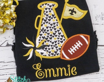 Black and Gold Football and Megaphone Shirt, Fleur De Lis Girls Shirt, Black and Gold Football Shirt