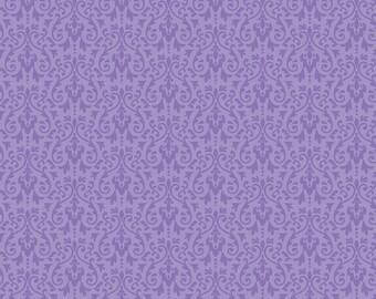 Purple Ghouls Damask Fabric, Riley Blake, 100% Cotton Purple Damask