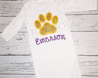 Glitter Tiger Paw Gown, Bodysuit or T-Shirt