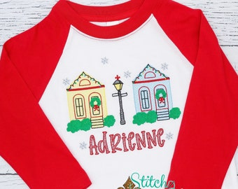 Christmas in New Orleans Sketch Embroidery, New Orleans Christmas Houses Sketch, NOLA XMAS, NOLA Christmas, Personalized Christmas Shirt