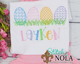 Motif Easter Egg Sketch Top And Bottom Set, Easter Sketch Embroidery, Spring Embroidery, Easter Outfit, Girl Easter Outfit