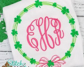 Shamrock Wreath Monogram, Shamrock Wreath, St Patricks Day