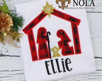 Nativity Applique, Christmas Nativity Applique, Nativity Scene, Personalized Christmas Shirt, Xmas Shirt