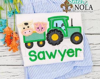 Tractor with Animals Applique Shorts Set, Tractor with Animals Shirt and Shorts, Tractor with Animals Applique
