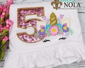 Flip Sequin Birthday Number Unicorn Applique, Pink Flip Sequins, Unicorn Flower Crown Applique, Sequined Birthday Number