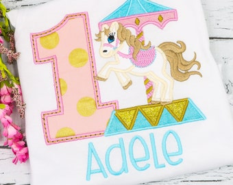 Carousel Horse Birthday Tee or Bodysuit, Carousel Horse Applique, Horse Applique, Carousel Applique, Birthday Shirt, Unicorn Applique