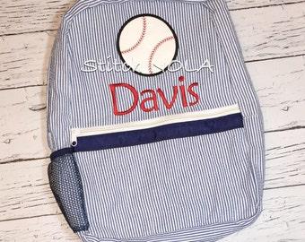 Seersucker Backpack with Baseball, Seersucker Diaper Bag, Seersucker School Bag, Seersucker Bag, Diaper Bag, School Bag, Book Bag, Backpack