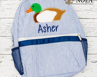 Seersucker Backpack with Mallard Duck, Seersucker Diaper Bag, Seersucker School Bag, Seersucker Bag, Diaper Bag, School Bag, Book Bag, Backp