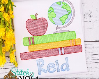 Back to School Sketch Embroidery, Back to School , Books, Globe, Apple