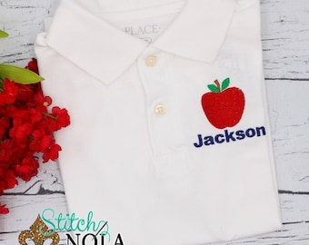 Back to School Apple Polo Shirt, School Personalized Collard Shirt