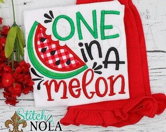 One in a Melon Applique Shirt and Shorts Set, Watermelon Applique, Watermelon Birthday Outfit