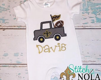 Black & Gold Fleur de lis Truck with Football T-Shirt, Romper or Bodysuit