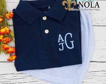 Monogrammed Collared Navy Shirt and Seersucker Shorts Set, Monogrammed Collared Shirt, Seersucker Shorts
