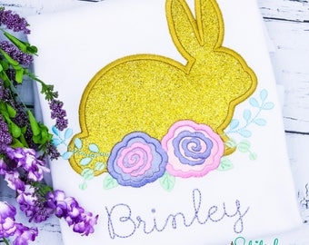 Hopping BUNNY with ROSES APPLIQUE, Bunny Applique, Rabbit Applique, Easter Applique, Rabbit with Roses, Easter Shirt