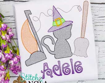 Halloween Trio Sketch, Vintage  Halloween Trio, Black Cat, Sketch Embroidery, Black Cat Shirt, Halloween Shirt