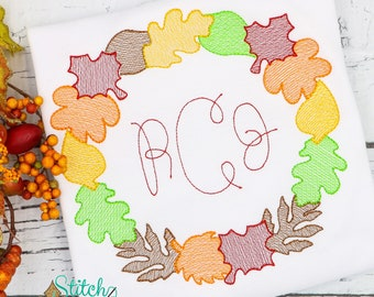 Fall Wreath Monogram Sketch Embroidery, Fall Wreath Embroidery, Vintage Fall Wreath