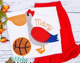 Basketball Pelican Shirt and Shorts Set, Pelican Basketball Applique Outfit, Basketball Shirt