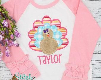 Girls Thanksgiving Turkey Applique Shirt, Personalized Thanksgiving Shirt