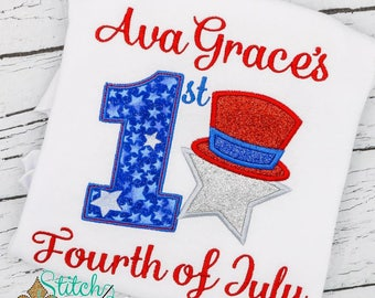 First Fourth of July Applique, 1st 4th of July, Baby's First, Patriotic Applique, Uncle Sam Applique