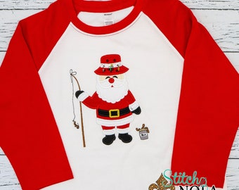 Fishing Santa Shirt, Fishing Santa Applique, Christmas Fishing Shirt, Santa Applique, Santa Christmas Shirt,  Boy Christmas Applique